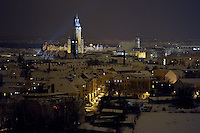 Nachtaufnahme Luftbild Winter Leipzig Stadtansicht - Neues Rathaus Peterskirche / Thomaskirche / Innenstadt .Foto: Norman Rembarz .