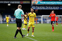 3rd October 2020; Kenilworth Road, Luton, Bedfordshire, England; English Football League Championship Football, Luton Town versus Wycombe Wanderers; Scott Kashket of Wycombe Wanderers arguing with Referee Graham Scott after Assistant Referee Henry Lennard disallowed Scott Kashket of Wycombe Wanderers goal