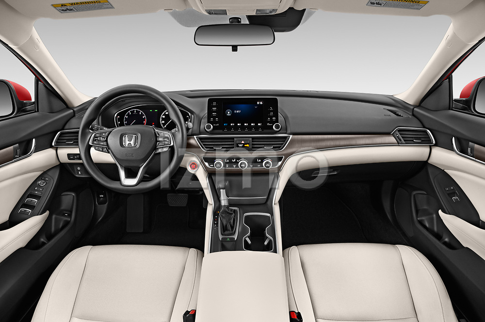Stock photo of straight dashboard view of a 2019 Honda Accord LX 4 Door Sedan