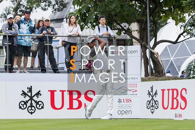 Piya Swangarunporn of Thailand tees off during the day two of UBS Hong Kong Open 2017 at the Hong Kong Golf Club on 24 November 2017, in Hong Kong, Hong Kong. Photo by Yu Chun Christopher Wong / Power Sport Images