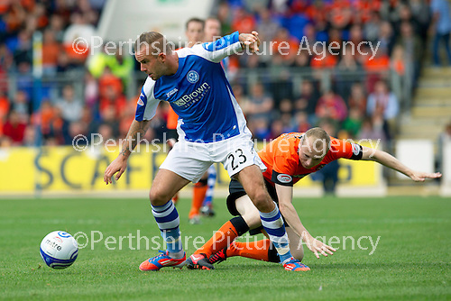 St Johnstone v Dundee United....01.09.12      SPL  .Rowan Vine and Willo Flood.Picture by Graeme Hart..Copyright Perthshire Picture Agency.Tel: 01738 623350  Mobile: 07990 594431