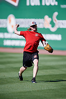 Chattanooga Lookouts pitcher Ryan Eades (37) warms up before a game against the Jackson Generals on April 27, 2017 at The Ballpark at Jackson in Jackson, Tennessee.  Chattanooga defeated Jackson 5-4.  (Mike Janes/Four Seam Images)