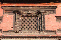 Nepal, Patan.  Window in the Royal Palace, with Traditional Carved Frame.