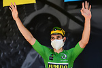Wout Van Aert (BEL) Team Jumbo-Visma wearing the Green Jersey at sign on before the start of Stage 4 of Criterium du Dauphine 2020, running 157km from Ugine to Megeve, France. 15th August 2020.<br /> Picture: ASO/Alex Broadway | Cyclefile<br /> All photos usage must carry mandatory copyright credit (© Cyclefile | ASO/Alex Broadway)