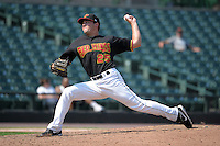 Rochester Red Wings pitcher Caleb Thielbar #25 delivers a pitch during a game against the Durham Bulls at Frontier Field on June 21, 2012 in Rochester, New York.  Durham defeated Rochester 14-8.  (Mike Janes/Four Seam Images)