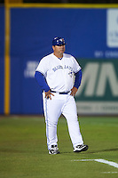 Dunedin Blue Jays manager Ken Huckaby (20) during a game against the Palm Beach Cardinals on April 15, 2016 at Florida Auto Exchange Stadium in Dunedin, Florida.  Dunedin defeated Palm Beach 8-7 in ten innings.  (Mike Janes/Four Seam Images)