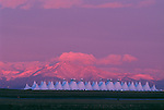 Sunrise light on Front Range with DIA (Denver International Airport) in foreground, CO