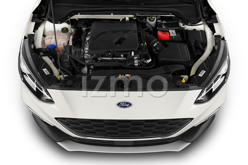 Car Stock 2019 Ford Focus Active 5 Door Hatchback Engine  high angle detail view