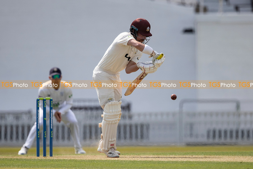 Rory Burns of Surrey CCC defends during Surrey CCC vs Hampshire CCC, LV Insurance County Championship Group 2 Cricket at the Kia Oval on 30th April 2021