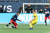 FOXBOROUGH, MA - OCTOBER 3: Lee Nguyen #42 of New England Revolution attempts to control the ball as Dax McCarty #6 of Nashville SC defends during a game between Nashville SC and New England Revolution at Gillette Stadium on October 3, 2020 in Foxborough, Massachusetts.