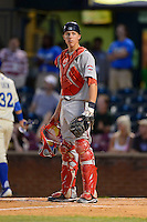 Greenville Drive catcher Jordan Weems #18 during a game against the Lexington Legends on April 18, 2013 at Whitaker Bank Ballpark in Lexington, Kentucky.  Lexington defeated Greenville 12-3.  (Mike Janes/Four Seam Images)