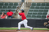 Eddy Alvarez (1) of the Kannapolis Intimidators follows through on his swing against the Hickory Crawdads at CMC-Northeast Stadium on April 17, 2015 in Kannapolis, North Carolina.  The Crawdads defeated the Intimidators 9-5 in game one of a double-header.  (Brian Westerholt/Four Seam Images)