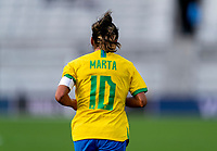 ORLANDO, FL - FEBRUARY 18: Marta #10 of Brazil runs during a game between Argentina and Brazil at Exploria Stadium on February 18, 2021 in Orlando, Florida.