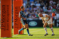20130801 Copyright onEdition 2013 ©<br /> Free for editorial use image, please credit: onEdition.<br /> <br /> Paul Hodgson of Worcester Warriors 7s touches down for a try during the J.P. Morgan Asset Management Premiership Rugby 7s Series.<br /> <br /> The J.P. Morgan Asset Management Premiership Rugby 7s Series kicks off for the fourth season on Thursday 1st August with Pool A at Kingsholm, Gloucester with Pool B being played at Franklin's Gardens, Northampton on Friday 2nd August, Pool C at Allianz Park, Saracens home ground, on Saturday 3rd August and the Final being played at The Recreation Ground, Bath on Friday 9th August. The innovative tournament, which involves all 12 Premiership Rugby clubs, offers a fantastic platform for some of the country's finest young athletes to be exposed to the excitement, pressures and skills required to compete at an elite level.<br /> <br /> The 12 Premiership Rugby clubs are divided into three groups for the tournament, with the winner and runner up of each regional event going through to the Final. There are six games each evening, with each match consisting of two 7 minute halves with a 2 minute break at half time.<br /> <br /> For additional images please go to: http://www.w-w-i.com/jp_morgan_premiership_sevens/<br /> <br /> For press contacts contact: Beth Begg at brandRapport on D: +44 (0)20 7932 5813 M: +44 (0)7900 88231 E: BBegg@brand-rapport.com<br /> <br /> If you require a higher resolution image or you have any other onEdition photographic enquiries, please contact onEdition on 0845 900 2 900 or email info@onEdition.com<br /> This image is copyright the onEdition 2013©.<br /> <br /> This image has been supplied by onEdition and must be credited onEdition. The author is asserting his full Moral rights in relation to the publication of this image. Rights for onward transmission of any image or file is not granted or implied. Changing or deleting Copyright information is illegal as specified in the Copyright, Design and Patents Act 1988. If you are in any way unsure of your right to publish this image please c