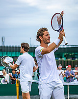 London, England, 6 July, 2019, Tennis,  Wimbledon, Men's doubles: Marcus Daniell (DEN)) and Wesley Koolhof (NED) (R) celebrate their win<br /> Photo: Henk Koster/tennisimages.com