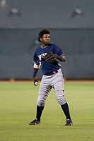 AZL Padres 2 left fielder Olivier Basabe (4) prepares to throw after catching a fly ball during a game against the AZL Rangers on August 2, 2017 at the Texas Rangers Spring Training Complex in Surprise, Arizona. Padres 2 defeated the Rangers 6-3. (Zachary Lucy/Four Seam Images)