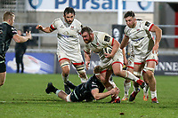 26 February 2021; Andrew Warwick is tackled by Sam Cross during the Guinness PRO14 match between Ulster and Ospreys at Kingspan Stadium in Belfast. Photo by John Dickson/Dicksondigital