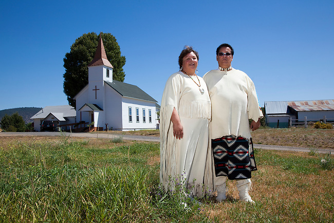 Native American ministers, of the Williamson River Indian Church, are dressed in traditional regalia and give service to the Klamath Tribe in Oregon