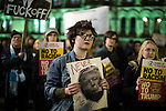 © Joel Goodman - 07973 332324 . 20/02/2017 . Manchester , UK . Hundreds of protesters at a Stop Trump demonstration in Albert Square , central Manchester , to coincide with Parliament debating a petition calling for the government to cancel a State Visit by US President Donald Trump . Photo credit : Joel Goodman