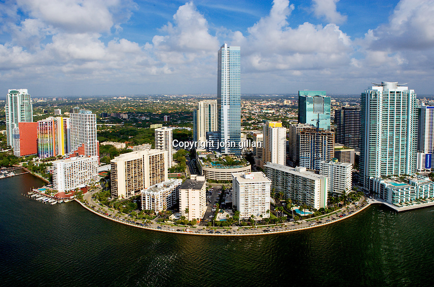 Aerial view of Brickell Avenue including the Four Seasons Hotel, Miami Stock. WX3P2821