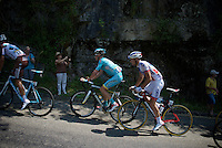 Matthieu Ladagnous (FRA/FDJ) in the breakaway next to Lieuwe Westra (NLD/Astana)<br /> <br /> stage 12: Lannemezan - Plateau de Beille (195km)<br /> 2015 Tour de France