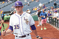 LSU Tigers pitcher Alex Lange (35) stretches his arm before the NCAA College World Series game against the TCU Horned Frogs on June 14, 2015 at TD Ameritrade Park in Omaha, Nebraska. TCU defeated LSU 10-3. (Andrew Woolley/Four Seam Images)