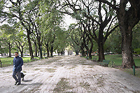 The park at the Plaza San martin Square with big black trees, a man walking by with a shopping cart, otherwise the park is empty abandoned. the Plaza San Martin Square renamed Plaza de la Fuerza Aerea or Plaza Fuerza Retiro Buenos Aires Argentina, South America