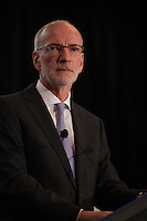 Hubert T. Lacroix, president and CEO of CBC/Radio-Canada, delivers a speech to the Canadian Club of Montreal, May 5, 2014.<br /> <br /> Photo : Agence Quebec Presse - Pierre Roussel