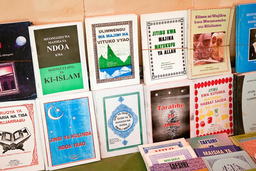 Zanzibar, Tanzania.  Bookstand selling books about Islam in Swahili or Arabic,  opposite the Jibril mosque in Stone Town.