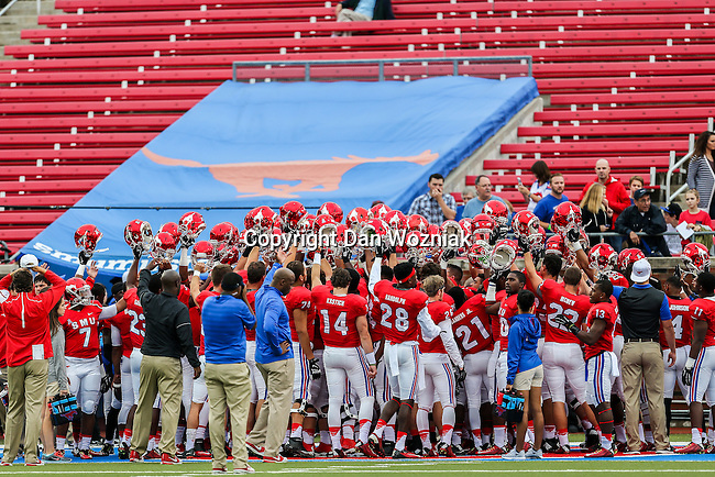 The Southern Methodist Mustangs get ready for action during the game between the Tulsa Golden Hurricanes and the SMU Mustangs at the Gerald J. Ford Stadium in Dallas, Texas.