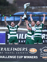 20th February 2021; Trailfinders Sports Club, London, England; Trailfinders Challenge Cup Rugby, Ealing Trailfinders versus Doncaster Knights; Rayn Smid of Ealing Trailfinders lifts the Trailfinders Challenge Cup while his team celebrate