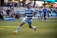 SAN JOSE, CA - MAY 22: Khiry Shelton #11 of Sporting Kansas City controls the ball during a game between San Jose Earthquakes and Sporting Kansas City at PayPal Park on May 22, 2021 in San Jose, California.
