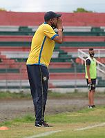 TULUA-COLOMBIA, 04-14-2020: Boca Juniors de Cali y Real San Andres, durante partido por la fecha 10 del Torneo BetPlay DIMAYOR I 2020 en el estadio Doce de Octubre de la ciudad de Tulua. / Boca Juniors de Cali and Real San Andres, during a match for the 10th date of the BetPlay DIMAYOR I 2020 tournament at the Doce de Octubre de stadium in Tulua city. / Photo: VizzorImage / Juan Jose Horta / Cont.
