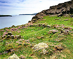 St Saint Davids Head, Coetan Arthur and Ramsey island. Ruined Hut Circle. St Davids Head Pembrokshire Wales. Uk. Celtic Britain published by Orion