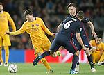 FC Barcelona's Leo Messi (l) and  Atletico de Madrid's Koke Resurrecccion (c) and Saul Niguez during Champions League 2015/2016 match. April 5,2016. (ALTERPHOTOS/Acero)