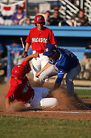 Auburn Doubledays Starting Pitcher Asher Wojciechowski (36), Blue Jays first round pick, covers home plate as Victor Sanchez slides in during a game vs. the Batavia Muckdogs at Dwyer Stadium in Batavia, New York July 2, 2010.   Batavia defeated Auburn 6-3.  Photo By Mike Janes/Four Seam Images