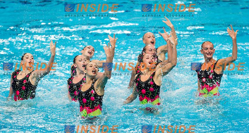 UKR - Ukraine<br /> ANANASOVA Lolita GRECHYKHINA Olena<br /> IUSHKO Daria KASHUBA Oleksandra<br /> REZNIK Kateryna SABADA Oleksandra<br /> SADURSKA Kateryna SAVCHUK Anastasiya<br /> SYDORENKO Kseniya VOLOSHYNA Anna<br /> Day 9 01/08/2015<br /> XVI FINA World Championships Aquatics<br /> Synchro<br /> Kazan Tatarstan RUS July 24 - Aug. 9 2015 <br /> Photo Pasquale Mesiano/Deepbluemedia/Insidefoto