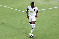 CARY, NC - AUGUST 01: Boluwatife Akinyode #3 plays the ball during a game between Birmingham Legion FC and North Carolina FC at Sahlen's Stadium at WakeMed Soccer Park on August 01, 2020 in Cary, North Carolina.