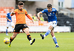 Dundee United v St Johnstone…..01.08.20   Tannadice  SPFL<br />Callum Booth shoots wide of the post<br />Picture by Graeme Hart.<br />Copyright Perthshire Picture Agency<br />Tel: 01738 623350  Mobile: 07990 594431