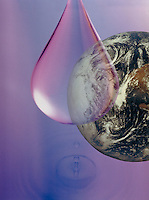 Water planet. Photo illustration with earth and water droplet. environment, natural resources, ecology, biology.