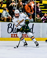 26 January 2019:  University of Vermont Catamount Defenseman Carter Long, a Freshman from Yorktown, VA, in first period action against the Merrimack College Warriors at Gutterson Fieldhouse in Burlington, Vermont. The Catamounts defeated the Warriors 4-3 in overtime to take both games of their weekend America East conference series. Mandatory Credit: Ed Wolfstein Photo *** RAW (NEF) Image File Available ***
