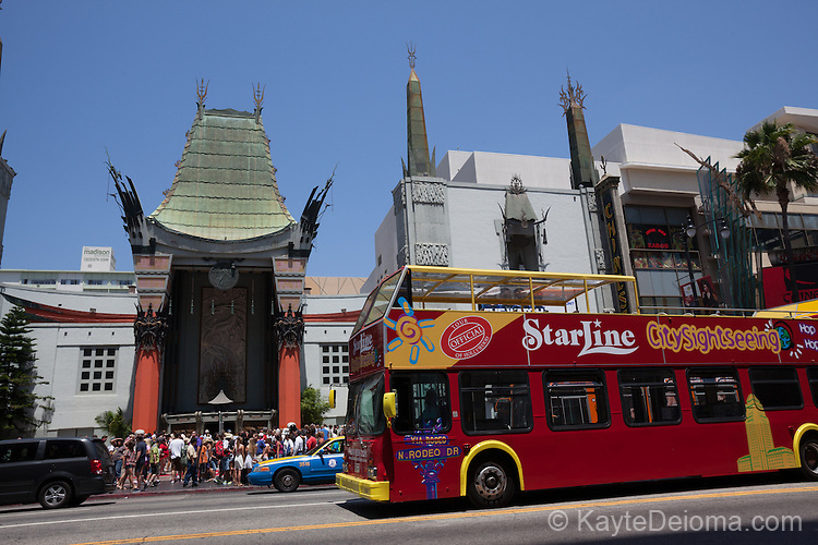 A Starline tour bus in front of Grauman's Chinese Theatre in Hollywood, Los Angeles, CA