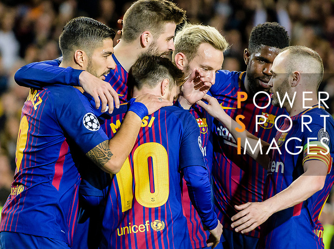 Gerard Pique Bernabeu of FC Barcelona (L2) celebrates after scoring his goal with his teammates during the UEFA Champions League 2017-18 quarter-finals (1st leg) match between FC Barcelona and AS Roma at Camp Nou on 05 April 2018 in Barcelona, Spain. Photo by Vicens Gimenez / Power Sport Images
