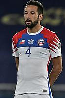 2nd July 2021; Nilton Santos Stadium, Rio de Janeiro, Brazil; Copa America, Brazil versus Chile; Mauricio Isla of Chile as the match starts