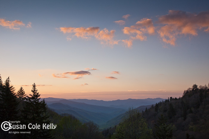 Springtime view of the Oconaluftee River Valley, Great Smoky Mountains National Park, NC, USA