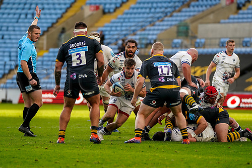 22nd November 2020; Ricoh Arena, Coventry, West Midlands, England; English Premiership Rugby, Wasps versus Bristol Bears; Harry Randall of Bristol looks to dart into a gap close to the line past West of Wasps