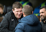 St Johnstone v Kilmarnock…15.10.16.. McDiarmid Park   SPFL<br />Tommy Wright and Lee Clark shakes hands before kick off<br />Picture by Graeme Hart.<br />Copyright Perthshire Picture Agency<br />Tel: 01738 623350  Mobile: 07990 594431