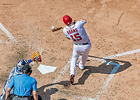 20 May 2018: Washington Nationals first baseman Matt Adams connects against the Los Angeles Dodgers at Nationals Park in Washington, DC. The Dodgers defeated the Nationals 7-2, sweeping their 3-game series. Mandatory Credit: Ed Wolfstein Photo *** RAW (NEF) Image File Available ***