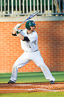 Patrick Raley (4) of the Charlotte 49ers at bat against the Delaware State Hornets at Robert and Mariam Hayes Stadium on February 15, 2013 in Charlotte, North Carolina.  The 49ers defeated the Hornets 13-7.  (Brian Westerholt/Four Seam Images)