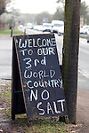 No Salt protest message on the side of the road at Newnham near Chepstow..